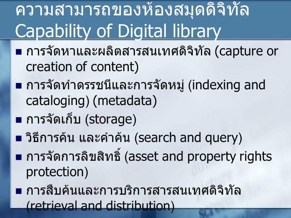 ความสามารถของห้องสมุดดิจิทัล Capability of Digital library การจัดหาและผลิตสารสนเทศดิจิทัล (capture or creation of content) การจัดทำดรรชนีและการจัดหมู่ (indexing and cataloging) (metadata) การจัดเก็บ (storage) วิธีการค้น และคำค้น (search and query) การจัดการลิขสิทธิ์ (asset and property rights protection) การสืบค้นและการบริการสารสนเทศดิจิทัล (retrieval and distribution)