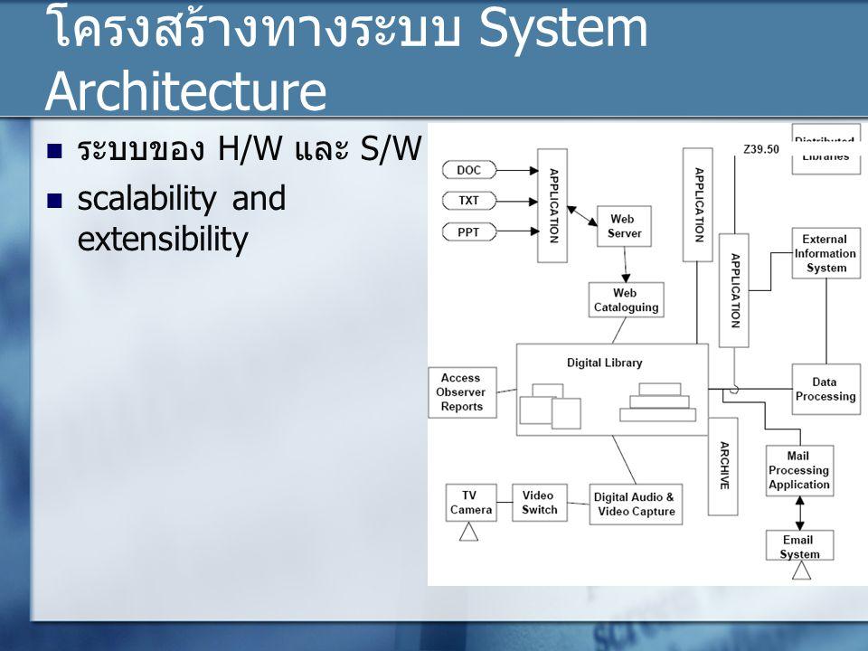 โครงสร้างทางระบบ System Architecture ระบบของ H/W และ S/W scalability and extensibility