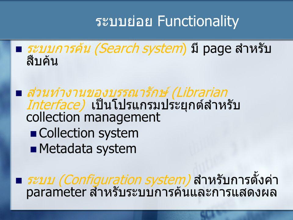 ระบบย่อย Functionality ระบบการค้น (Search system) มี page สำหรับ สืบค้น ส่วนทำงานของบรรณารักษ์ (Librarian Interface) เป็นโปรแกรมประยุกต์สำหรับ collection management Collection system Metadata system ระบบ (Configuration system) สำหรับการตั้งค่า parameter สำหรับระบบการค้นและการแสดงผล
