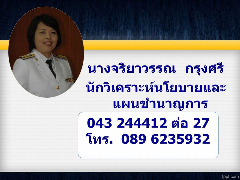043 244412 ต่อ 27 โทร. 089 6235932 นางจริยาวรรณ กรุงศรี นักวิเคราะห์นโยบายและ แผนชำนาญการ