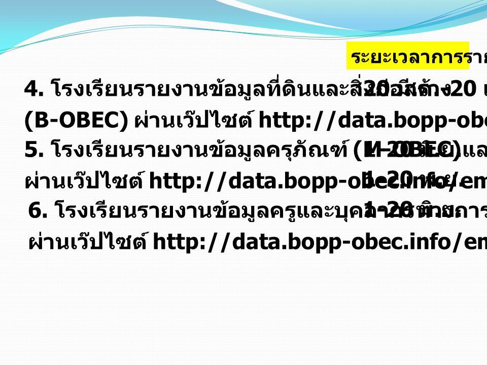 4. โรงเรียนรายงานข้อมูลที่ดินและสิ่งก่อสร้าง (B-OBEC) ผ่านเว๊ปไซต์ http://data.bopp-obec.info/building 5. โรงเรียนรายงานข้อมูลครุภัณฑ์ (M-OBEC) ผ่านเว