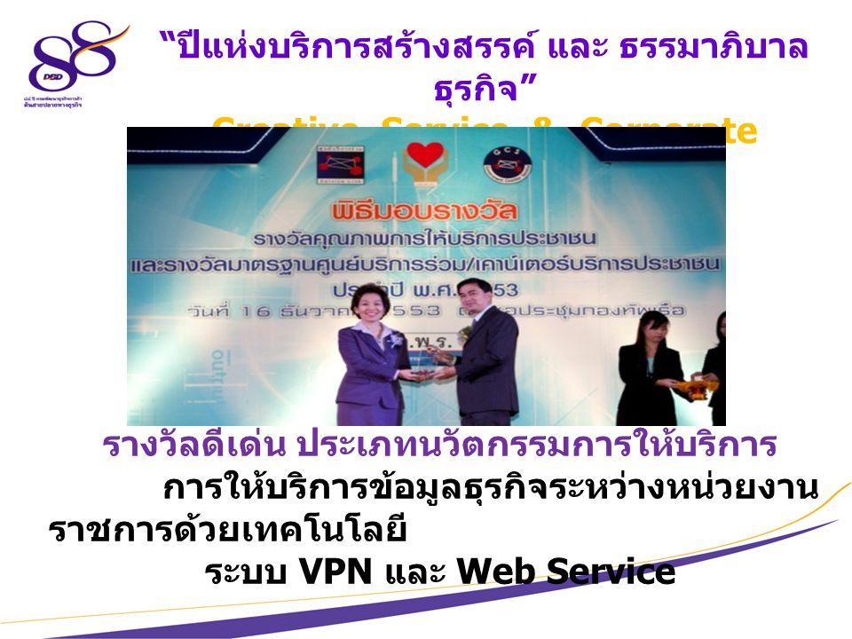 10 ปีแห่งบริการสร้างสรรค์ และ ธรรมาภิบาล ธุรกิจ Creative Service & Corporate Governance รางวัลดีเด่น ประเภทนวัตกรรมการให้บริการ การให้บริการข้อมูลธุรกิจระหว่างหน่วยงาน ราชการด้วยเทคโนโลยี ระบบ VPN และ Web Service