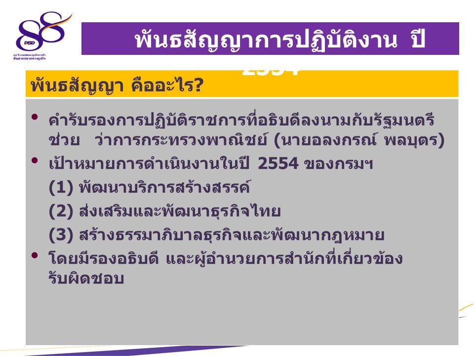 4 เป้าหมายสำคัญ ก้าวล้ำบริการ สร้างธรรมาภิบาลธุรกิจ ส่งเสริมพัฒนาธุรกิจไทยสู่สากล มุ่งสู่การเป็น e-Department ยกระดับการเป็นประเทศที่ง่ายต่อการทำธุรกิจ (Ease of Doing Business) พันธสัญญาการปฏิบัติงาน ปี 2554