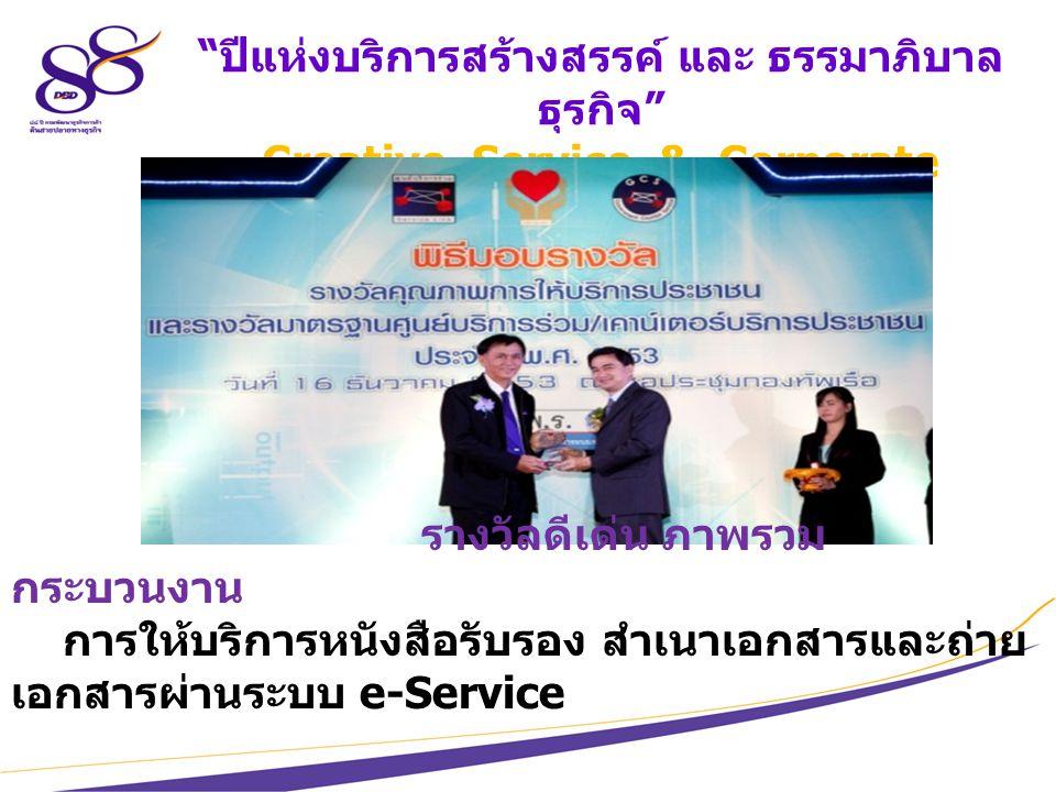 8 ปีแห่งบริการสร้างสรรค์ และ ธรรมาภิบาล ธุรกิจ Creative Service & Corporate Governance รางวัลดีเด่น ภาพรวม กระบวนงาน การให้บริการหนังสือรับรอง สำเนาเอกสารและถ่าย เอกสารผ่านระบบ e-Service