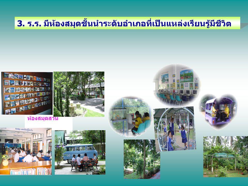 3. ร.ร. มีห้องสมุดชั้นนำระดับอำเภอที่เป็นแหล่งเรียนรู้มีชีวิต ห้องสมุดสวน