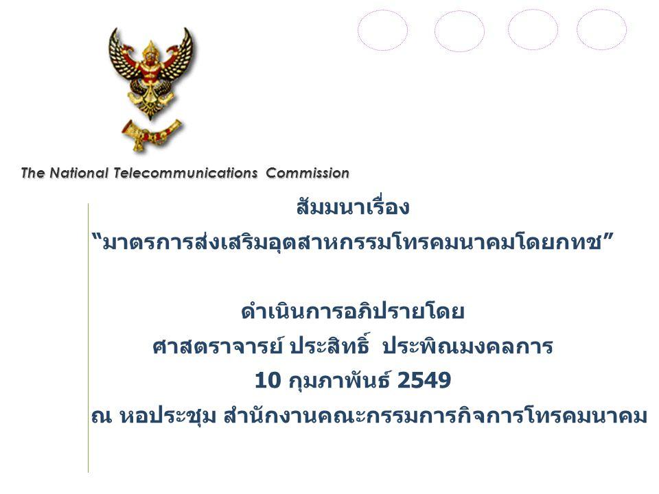 The National Telecommunications Commission สัมมนาเรื่อง มาตรการส่งเสริมอุตสาหกรรมโทรคมนาคมโดยกทช ดำเนินการอภิปรายโดย ศาสตราจารย์ ประสิทธิ์ ประพิณมงคลการ 10 กุมภาพันธ์ 2549 ณ หอประชุม สำนักงานคณะกรรมการกิจการโทรคมนาคม