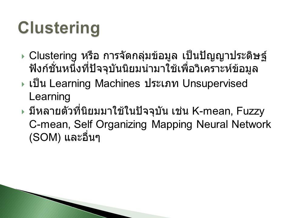  Clustering หรือ การจัดกลุ่มข้อมูล เป็นปัญญาประดิษฐ์ ฟังก์ชั่นหนึ่งที่ปัจจุบันนิยมนำมาใช้เพื่อวิเคราะห์ข้อมูล  เป็น Learning Machines ประเภท Unsuper