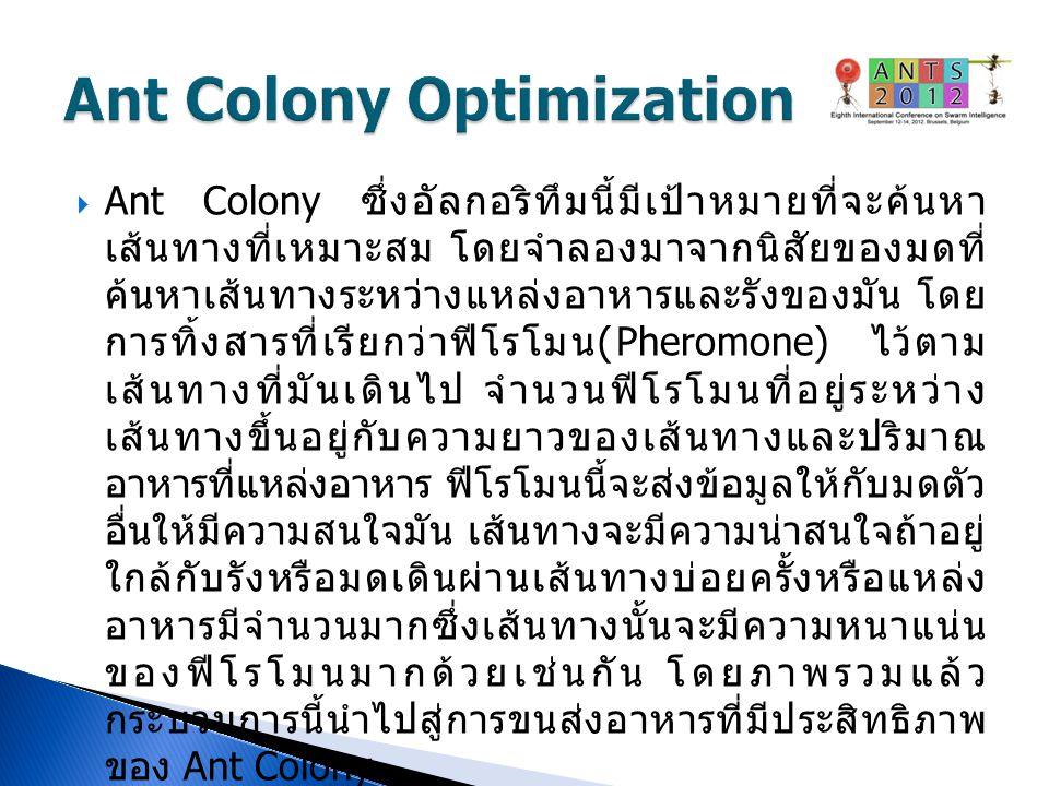  Ant Colony ซึ่งอัลกอริทึมนี้มีเป้าหมายที่จะค้นหา เส้นทางที่เหมาะสม โดยจำลองมาจากนิสัยของมดที่ ค้นหาเส้นทางระหว่างแหล่งอาหารและรังของมัน โดย การทิ้งส