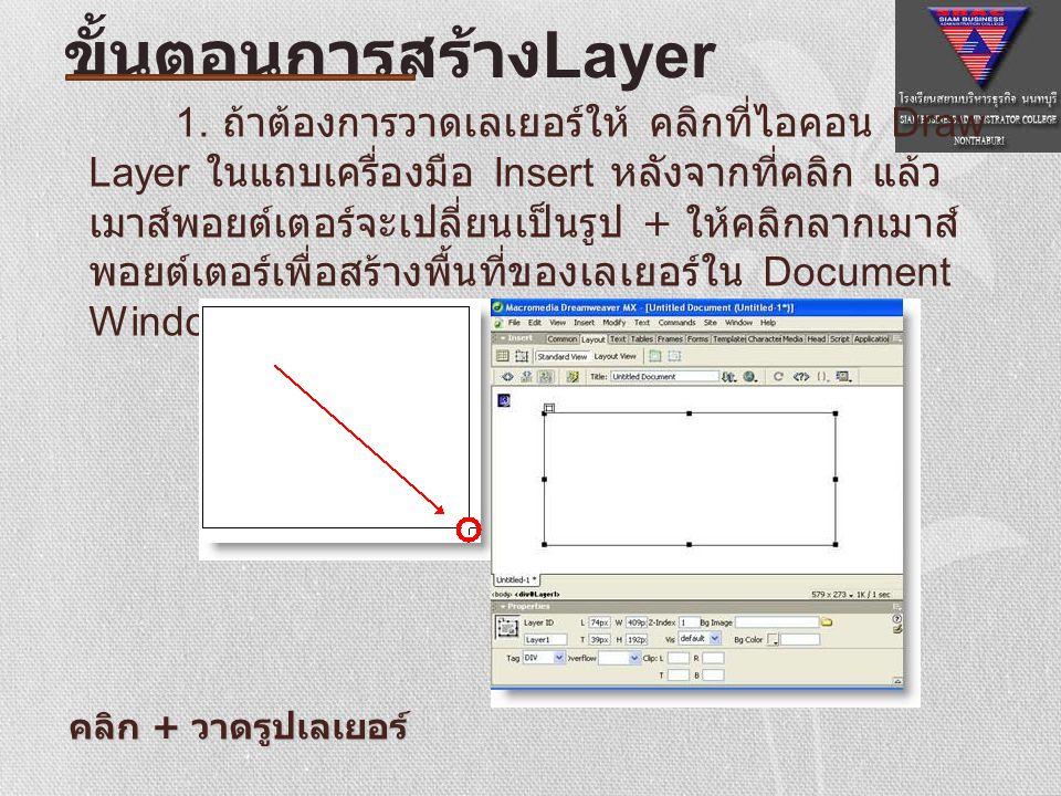 1. ถ้าต้องการวาดเลเยอร์ให้ คลิกที่ไอคอน Draw Layer ในแถบเครื่องมือ Insert หลังจากที่คลิก แล้ว เมาส์พอยต์เตอร์จะเปลี่ยนเป็นรูป + ให้คลิกลากเมาส์ พอยต์เ