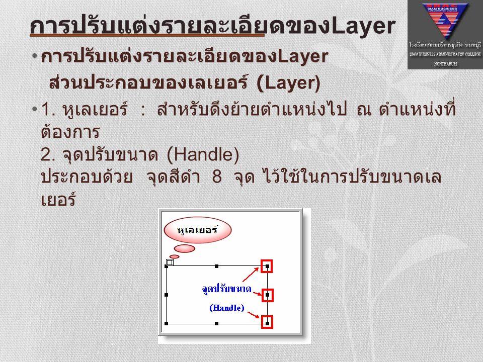 การปรับขนาดเลเยอร์ ทำได้ 2 วิธี ดังนี้ คลิกที่ขอบด้านใดด้านหนึ่งของเลเยอร์จะปรากฎ Resize Handle ล้อมรอบเลเยอร์ หลังจากนั้นในคลิก ลาก Handle เพื่อปรับขนาดของเลเยอร์ตามต้องการ หรือ คลิกพื้นที่ที่อยู่เลเยอร์แล้วพิมพ์ค่าความกว้างใน ช่อง Width และ ความสูงในช่อง Height ใน Property Inspector การปรับแต่งรายละเอียดของ Layer