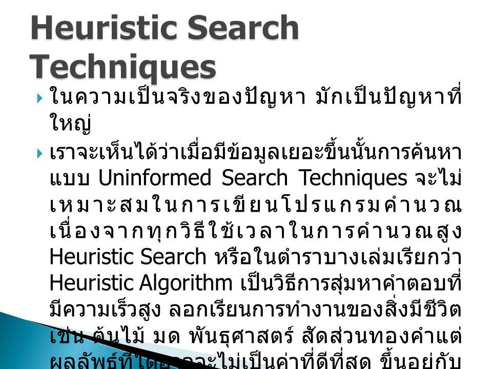  ในความเป็นจริงของปัญหา มักเป็นปัญหาที่ ใหญ่  เราจะเห็นได้ว่าเมื่อมีข้อมูลเยอะขึ้นนั้นการค้นหา แบบ Uninformed Search Techniques จะไม่ เหมาะสมในการเขียนโปรแกรมคำนวณ เนื่องจากทุกวิธีใช้เวลาในการคำนวณสูง Heuristic Search หรือในตำราบางเล่มเรียกว่า Heuristic Algorithm เป็นวิธีการสุ่มหาคำตอบที่ มีความเร็วสูง ลอกเรียนการทำงานของสิ่งมีชีวิต เช่น ต้นไม้ มด พันธุศาสตร์ สัดส่วนทองคำแต่ ผลลัพธ์ที่ได้อาจจะไม่เป็นค่าที่ดีที่สุด ขึ้นอยู่กับ จุดเริ่มต้น (Initialization) และเทคนิคที่ใช้ ค้นหา