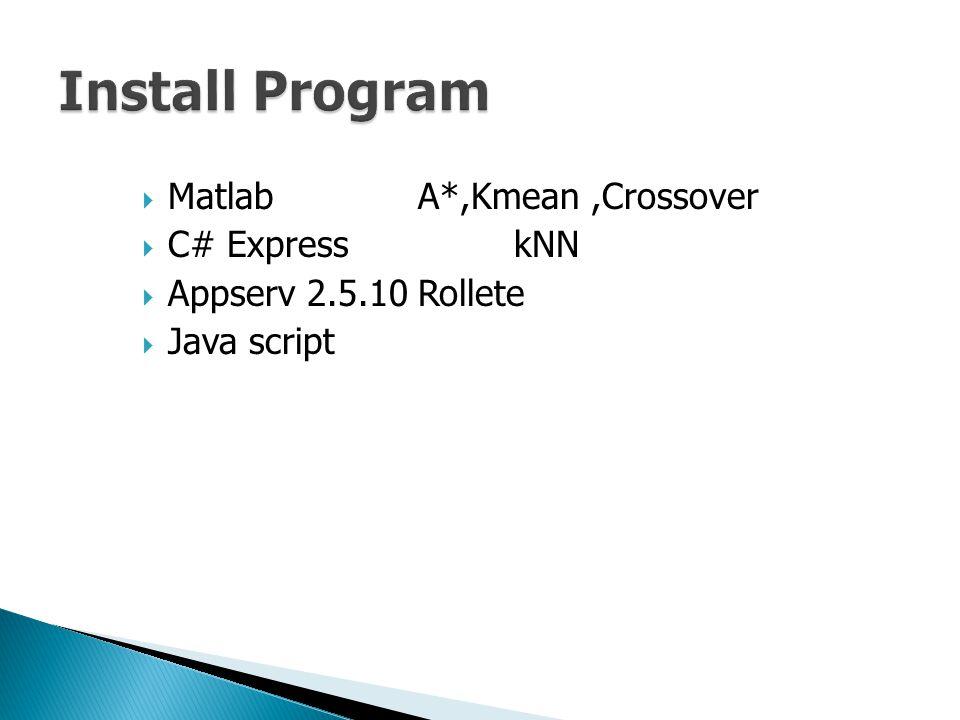  MatlabA*,Kmean,Crossover  C# ExpresskNN  Appserv 2.5.10Rollete  Java script