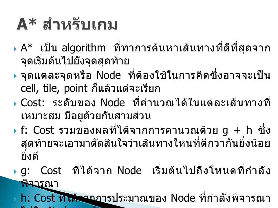  A* เป็น algorithm ที่ทาการค้นหาเส้นทางที่ดีที่สุดจาก จุดเริ่มต้นไปยังจุดสุดท้าย  จุดแต่ละจุดหรือ Node ที่ต้องใช้ในการคิดซึ่งอาจจะเป็น cell, tile, point ก็แล้วแต่จะเรียก  Cost: ระดับของ Node ที่คำนวณได้ในแต่ละเส้นทางที่ เหมาะสม มีอยู่ด้วยกันสามส่วน  f: Cost รวมของผลที่ได้จากการคานวณด้วย g + h ซึ่ง สุดท้ายจะเอามาตัดสินใจว่าเส้นทางใหนที่ดีกว่ากันยิ่งน้อย ยิ่งดี  g: Cost ที่ได้จาก Node เริ่มต้นไปถึงโหนดที่กำลัง พิจารณา  h: Cost ที่ได้จากการประมาณของ Node ที่กำลังพิจารณา ไปถึง Node สุดท้าย  Node อันใหนที่มีค่า cost ของ Node น้อยที่สุดจะถูกเอา ไปคำนวณต่อไป