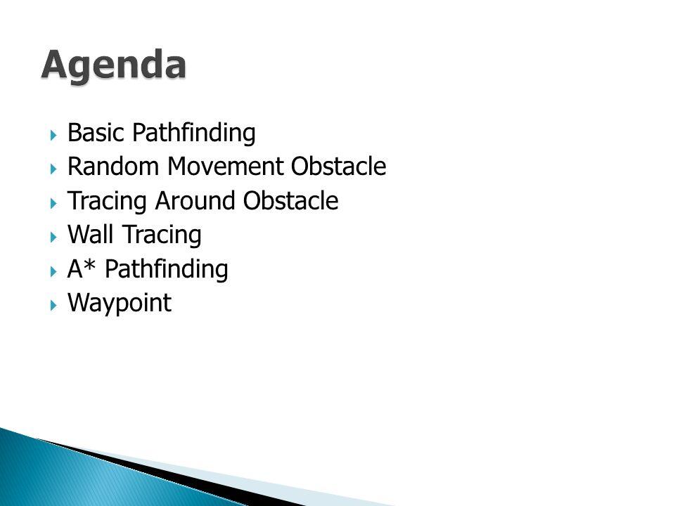  Basic Pathfinding  Random Movement Obstacle  Tracing Around Obstacle  Wall Tracing  A* Pathfinding  Waypoint