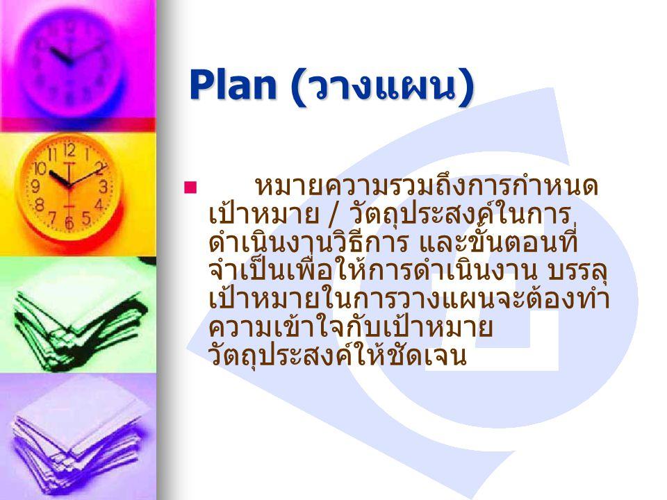 Plan ( วางแผน ) หมายความรวมถึงการกำหนด เป้าหมาย / วัตถุประสงค์ในการ ดำเนินงานวิธีการ และขั้นตอนที่ จำเป็นเพื่อให้การดำเนินงาน บรรลุ เป้าหมายในการวางแผ