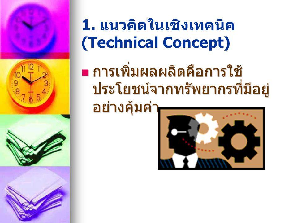 1. แนวคิดในเชิงเทคนิค (Technical Concept) การเพิ่มผลผลิตคือการใช้ ประโยชน์จากทรัพยากรที่มีอยู่ อย่างคุ้มค่า การเพิ่มผลผลิตคือการใช้ ประโยชน์จากทรัพยาก