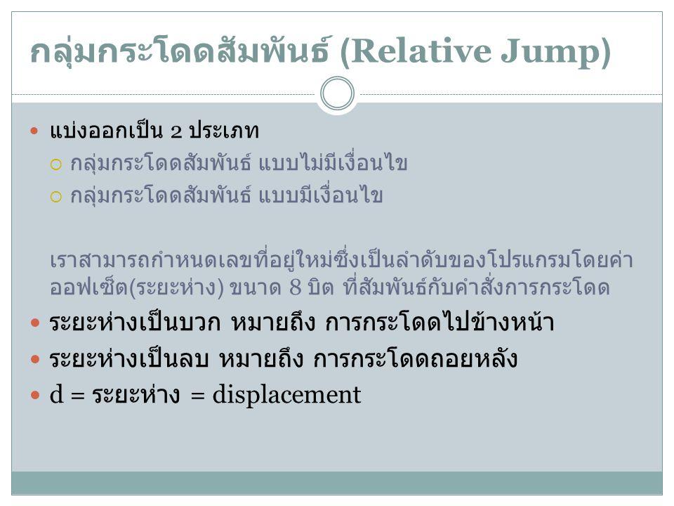 กลุ่มกระโดดสัมพันธ์ (Relative Jump) แบ่งออกเป็น 2 ประเภท  กลุ่มกระโดดสัมพันธ์ แบบไม่มีเงื่อนไข  กลุ่มกระโดดสัมพันธ์ แบบมีเงื่อนไข เราสามารถกำหนดเลขท