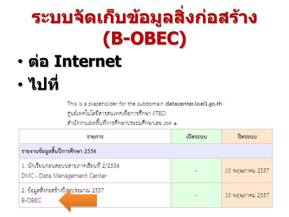ระบบจัดเก็บข้อมูลสิ่งก่อสร้าง (B-OBEC) ต่อ Internet ต่อ Internet ไปที่ http://datacenter.loei1.go.th ไปที่ http://datacenter.loei1.go.th