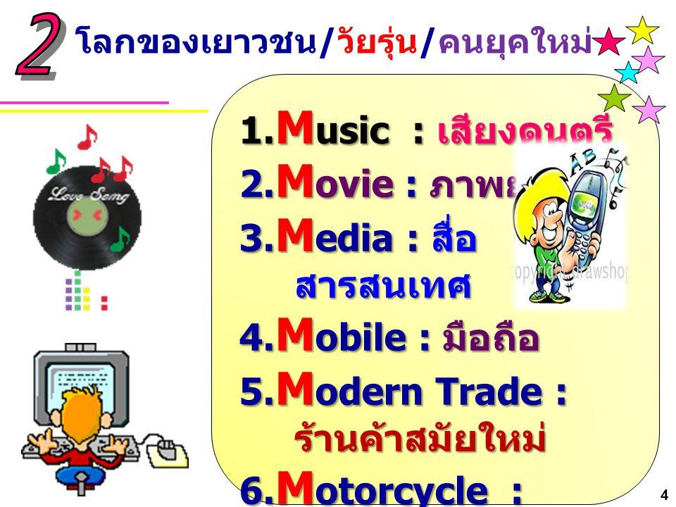 1. M usic : เสียงดนตรี 2. M ovie : ภาพยนตร์ 3. M edia : สื่อ สารสนเทศ 4. M obile : มือถือ 5. M odern Trade : ร้านค้าสมัยใหม่ 6. M otorcycle : จักรยานย
