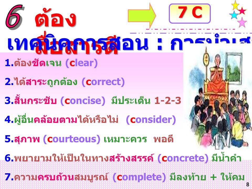 8 1.ต้องชัดเจน (clear) 2.ได้สาระถูกต้อง (correct) 3.สั้นกระชับ (concise) มีประเด็น 1-2-3 4.ผู้อื่นคล้อยตามได้หรือไม่ (consider) 5.สุภาพ (courteous) เห