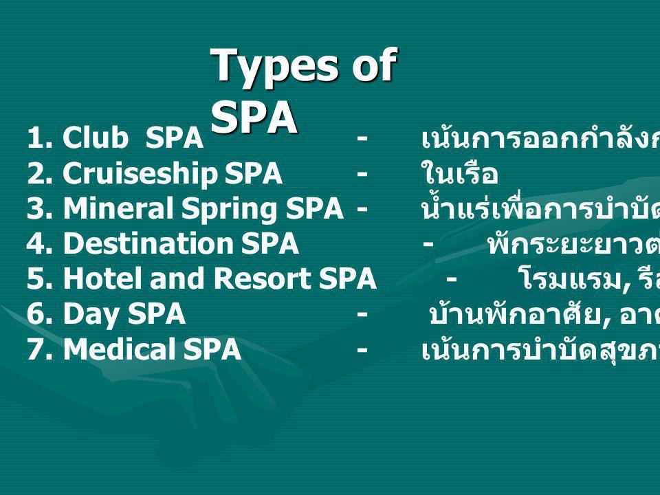 1. Club SPA - เน้นการออกกำลังกาย 2. Cruiseship SPA- ในเรือ 3. Mineral Spring SPA - น้ำแร่เพื่อการบำบัด 4. Destination SPA- พักระยะยาวต่อเนื่อง 5. Hote