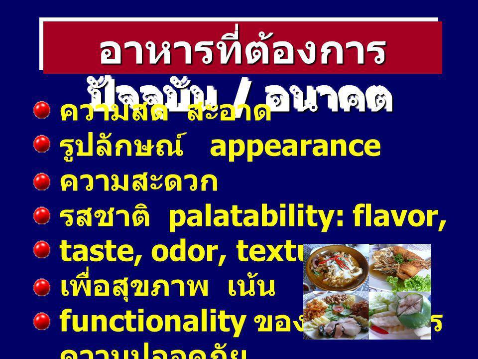 อาหารที่ต้องการ ปัจจุบัน / อนาคต ความสด สะอาด รูปลักษณ์ appearance ความสะดวก รสชาติ palatability: flavor, taste, odor, texture เพื่อสุขภาพ เน้น functi