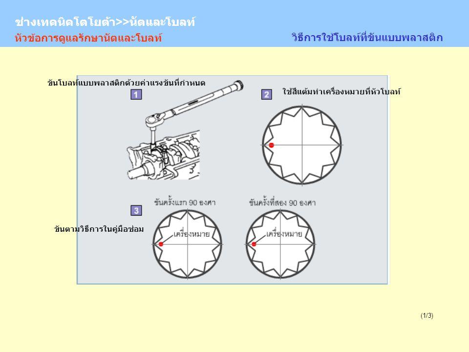 TOYOTA Technician >> Nuts and Bolts (1/3) หัวข้อการดูแลรักษานัตและโบลท์ วิธีการใช้โบลท์ที่ขันแบบพลาสติก ขันตามวิธีการในคู่มือซ่อม ขันโบลท์แบบพลาสติกด้