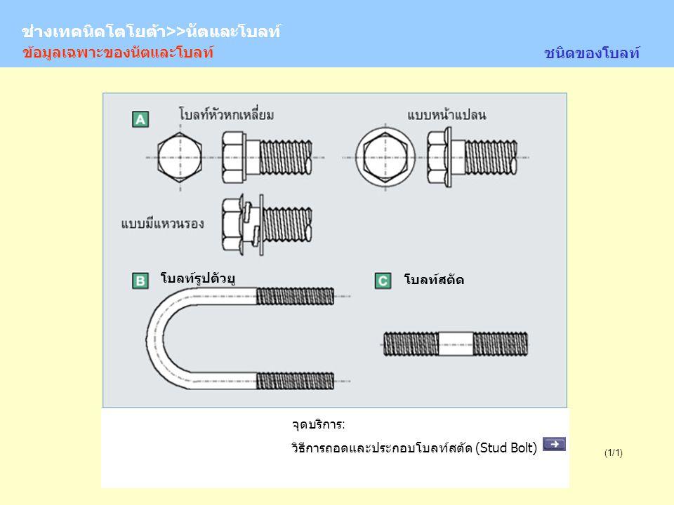 TOYOTA Technician >> Nuts and Bolts (1/1) จุดบริการ: วิธีการถอดและประกอบโบลท์สตัด (Stud Bolt) โบลท์รูปตัวยู โบลท์สตัด ชนิดของโบลท์ ข้อมูลเฉพาะของนัตแล