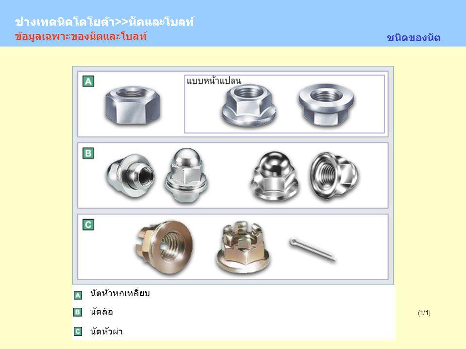 TOYOTA Technician >> Nuts and Bolts (1/1) ข้อมูลเฉพาะของนัตและโบลท์ ชนิดของนัต นัตหัวหกเหลี่ยม นัตล้อ นัตหัวผ่า ช่างเทคนิคโตโยต้า>>นัตและโบลท์