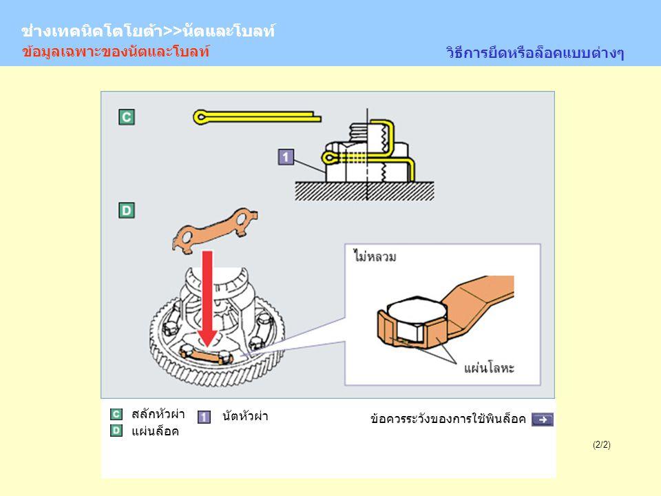 TOYOTA Technician >> Nuts and Bolts (2/2) Castle nut ข้อมูลเฉพาะของนัตและโบลท์ วิธีการยึดหรือล็อคแบบต่างๆ ข้อควรระวังของการใช้พินล็อค สลักหัวผ่า แผ่นล