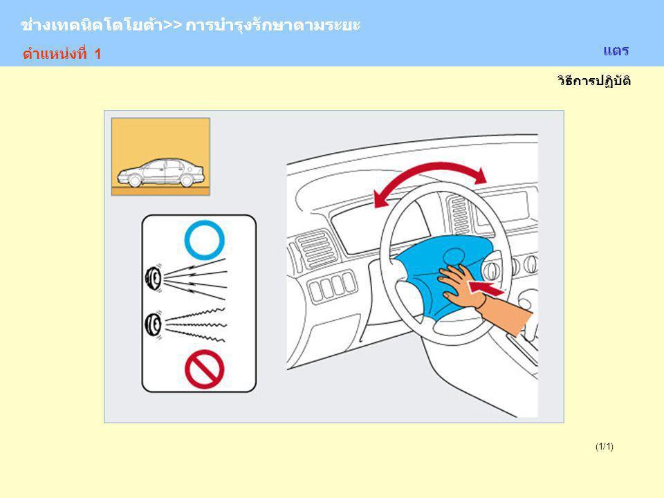 TOYOTA Technician >> Periodic Maintenance (1/1) เบรกมือ อ้างอิง: ชนิดของแขนเบรกมือ จุดบริการ: การปรับตั้งระยะดึงเบรกมือ ช่างเทคนิคโตโยต้า>> การบำรุงรักษาตามระยะ ตำแหน่งที่ 1