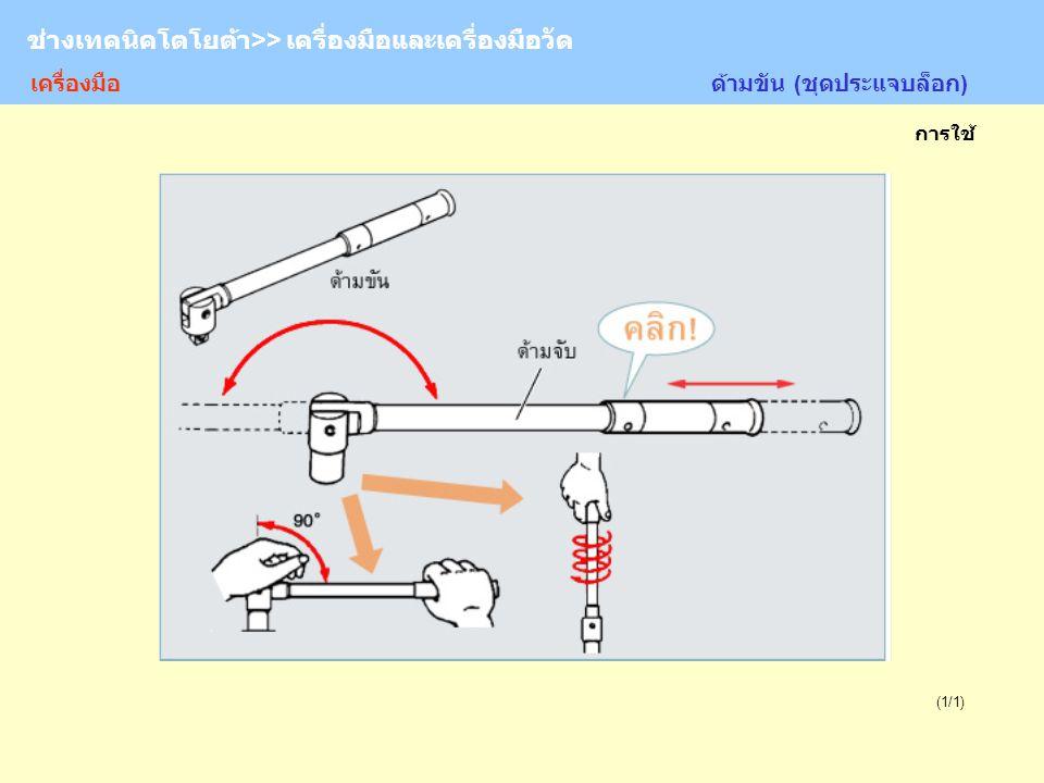 TOYOTA Technician >> Tool and Measurement (1/1) ด้ามขัน (ชุดประแจบล็อก) ช่างเทคนิคโตโยต้า>> เครื่องมือและเครื่องมือวัด การใช้ เครื่องมือ