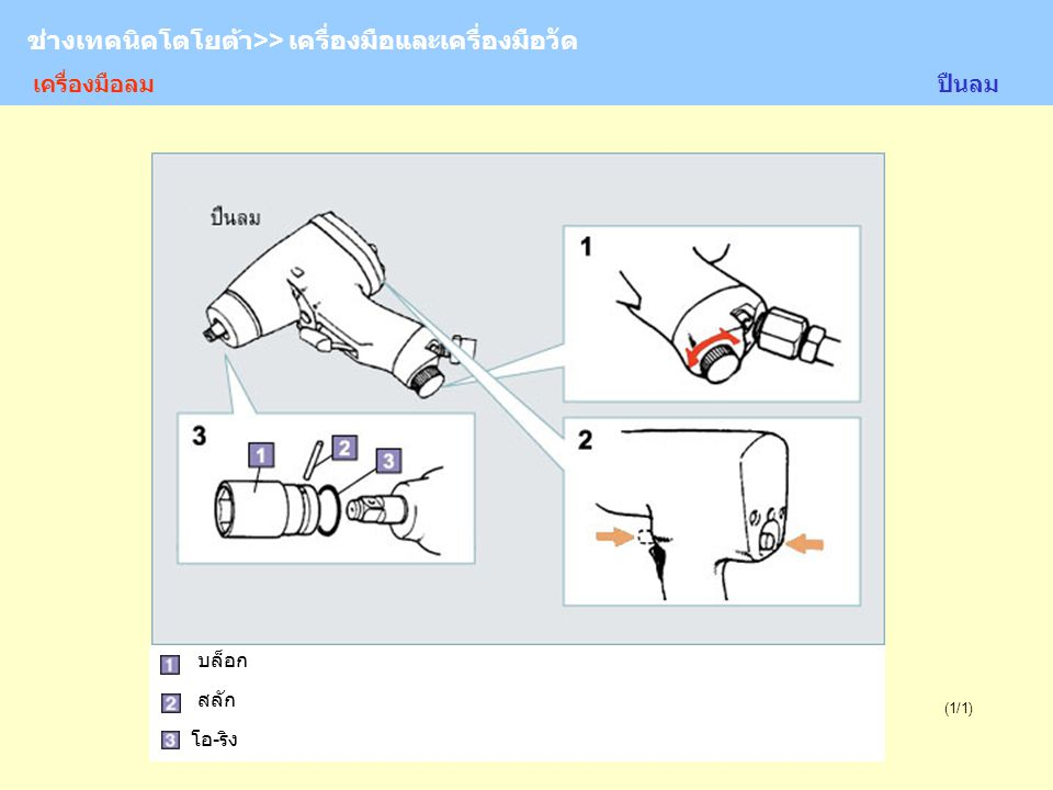 TOYOTA Technician >> Tool and Measurement (1/1) ช่างเทคนิคโตโยต้า>> เครื่องมือและเครื่องมือวัด บล็อก สลัก โอ-ริง ปืนลมเครื่องมือลม