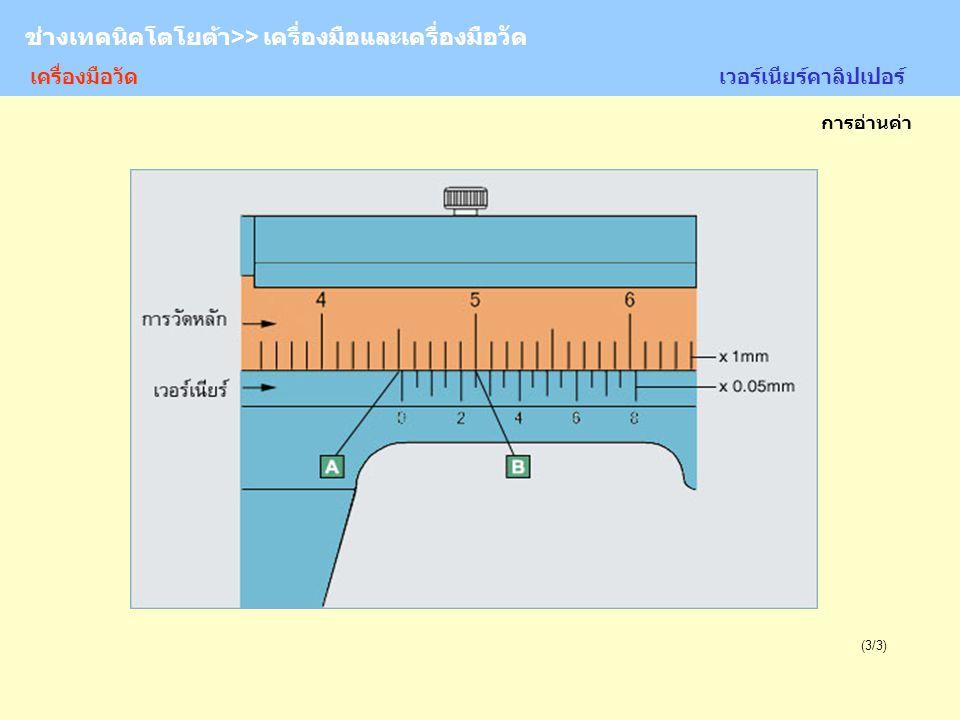 TOYOTA Technician >> Tool and Measurement (3/3) การอ่านค่า ช่างเทคนิคโตโยต้า>> เครื่องมือและเครื่องมือวัด เวอร์เนียร์คาลิปเปอร์ เครื่องมือวัด