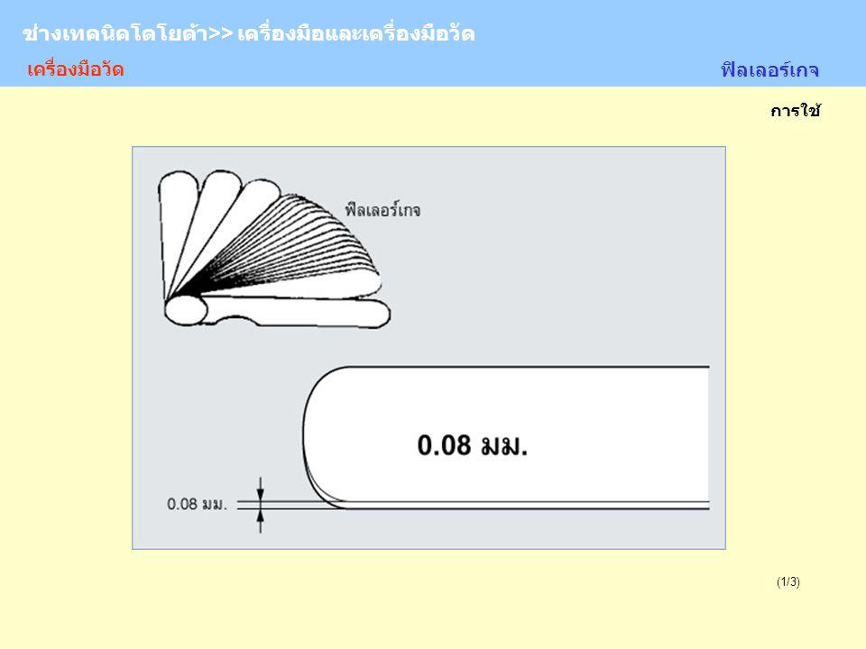 TOYOTA Technician >> Tool and Measurement (1/3) การใช้ ช่างเทคนิคโตโยต้า>> เครื่องมือและเครื่องมือวัด เครื่องมือวัด ฟิลเลอร์เกจ