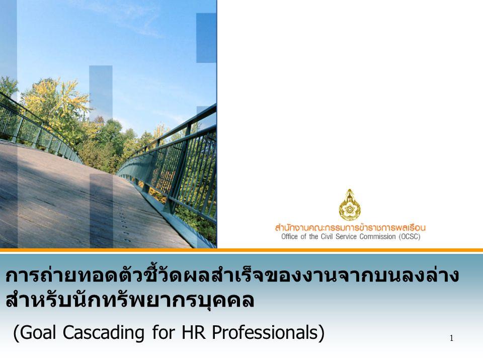 1 การถ่ายทอดตัวชี้วัดผลสำเร็จของงานจากบนลงล่าง สำหรับนักทรัพยากรบุคคล (Goal Cascading for HR Professionals)