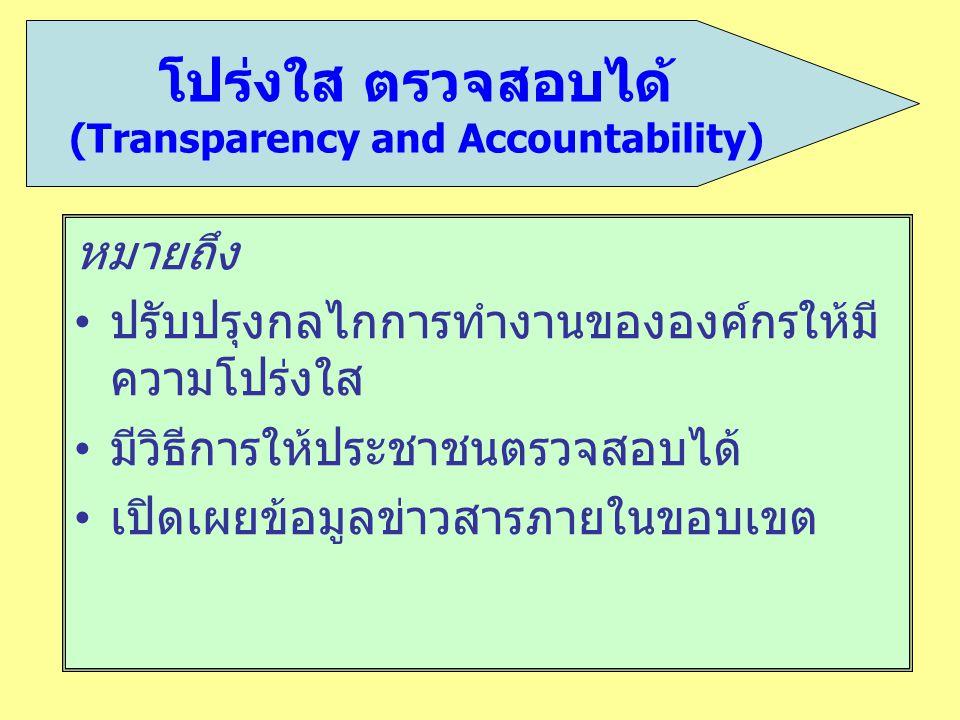 หมายถึง ปรับปรุงกลไกการทำงานขององค์กรให้มี ความโปร่งใส มีวิธีการให้ประชาชนตรวจสอบได้ เปิดเผยข้อมูลข่าวสารภายในขอบเขต โปร่งใส ตรวจสอบได้ (Transparency
