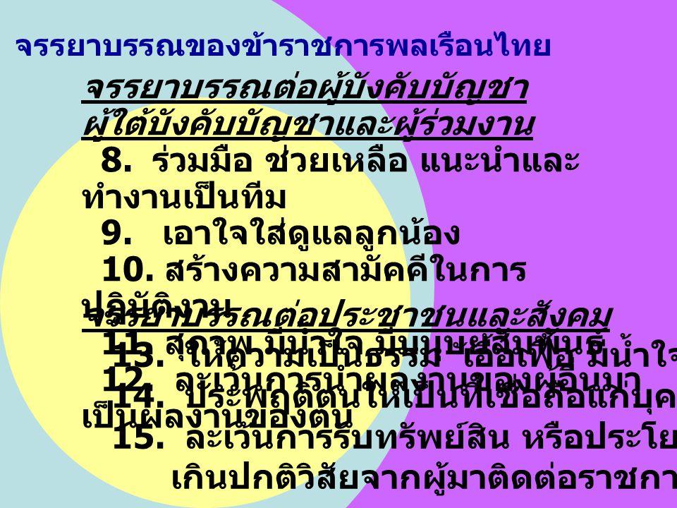 จรรยาบรรณของข้าราชการพลเรือนไทย จรรยาบรรณต่อผู้บังคับบัญชา ผู้ใต้บังคับบัญชาและผู้ร่วมงาน 8. ร่วมมือ ช่วยเหลือ แนะนำและ ทำงานเป็นทีม 9. เอาใจใส่ดูแลลู