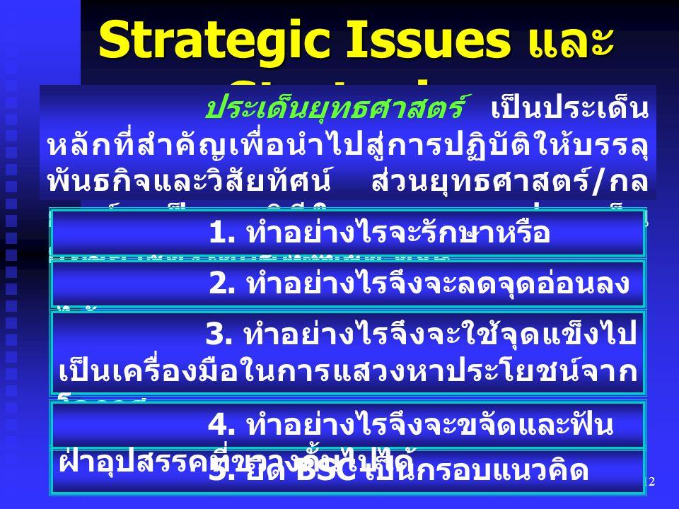 12 Strategic Issues และ Strategies ประเด็นยุทธศาสตร์ เป็นประเด็น หลักที่สำคัญเพื่อนำไปสู่การปฏิบัติให้บรรลุ พันธกิจและวิสัยทัศน์ ส่วนยุทธศาสตร์ / กล ย