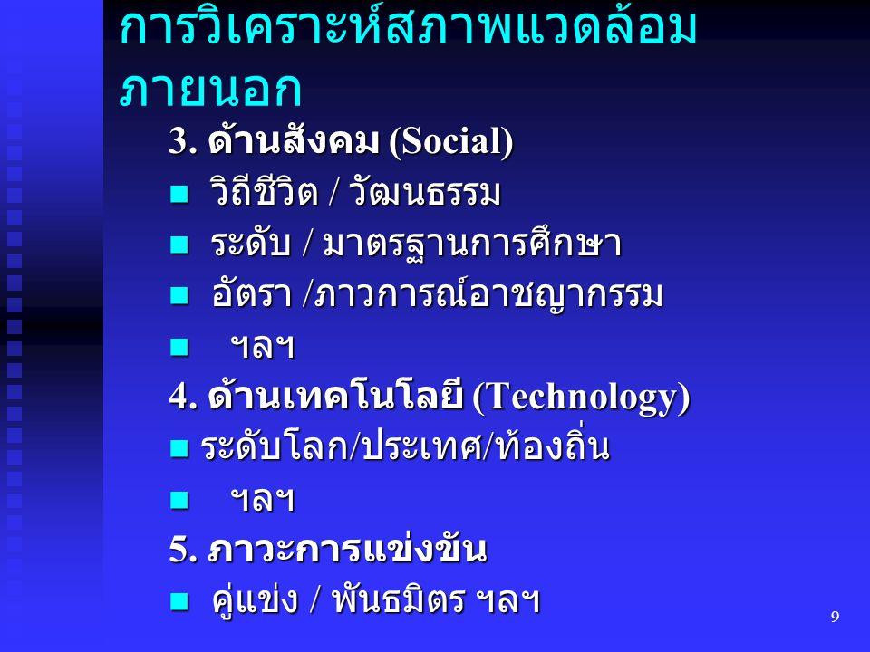 9 การวิเคราะห์สภาพแวดล้อม ภายนอก 3. ด้านสังคม (Social) วิถีชีวิต / วัฒนธรรม วิถีชีวิต / วัฒนธรรม ระดับ / มาตรฐานการศึกษา ระดับ / มาตรฐานการศึกษา อัตรา