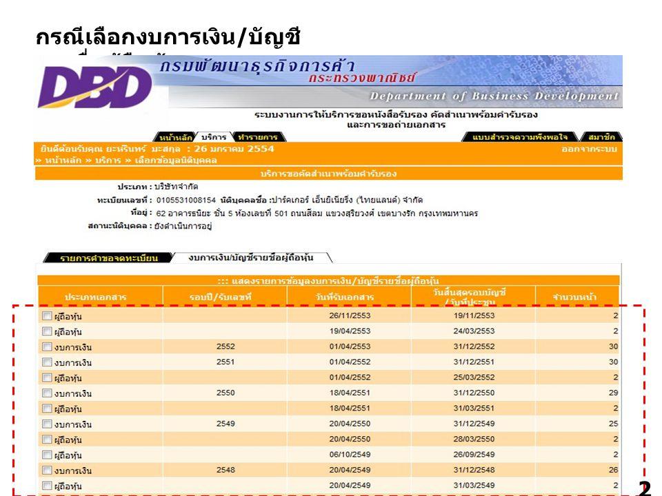 24 กรณีเลือกงบการเงิน / บัญชี รายชื่อผู้ถือหุ้น 2424