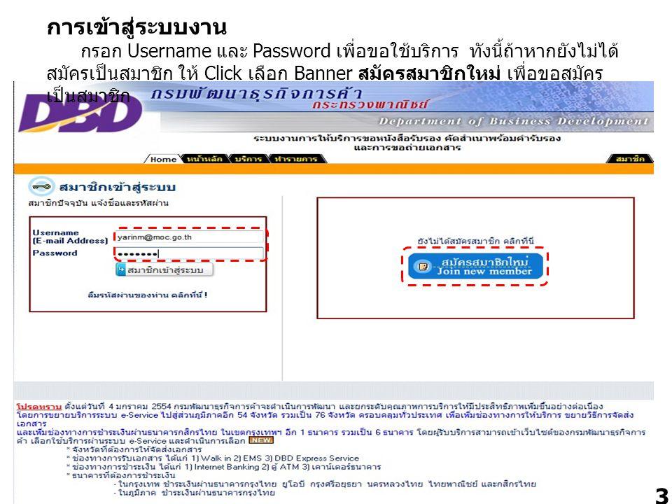 3 การเข้าสู่ระบบงาน กรอก Username และ Password เพื่อขอใช้บริการ ทังนี้ถ้าหากยังไม่ได้ สมัครเป็นสมาชิก ให้ Click เลือก Banner สมัครสมาชิกใหม่ เพื่อขอสม