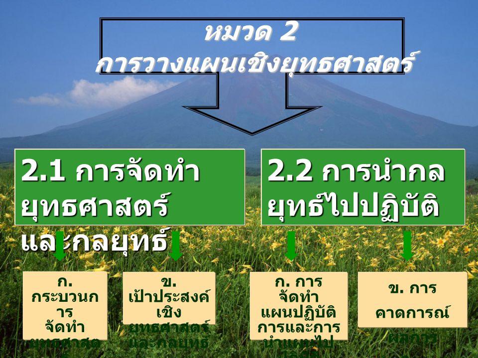หมวด 2 การวางแผนเชิงยุทธศาสตร์ 2.1 การจัดทำ ยุทธศาสตร์ และกลยุทธ์ 2.2 การนำกล ยุทธ์ไปปฏิบัติ ก.