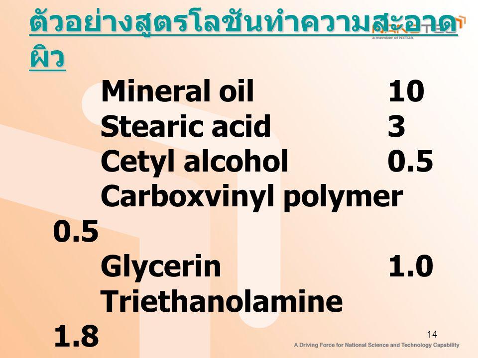 14 ตัวอย่างสูตรโลชันทำความสะอาด ผิว Mineral oil 10 Stearic acid3 Cetyl alcohol0.5 Carboxvinyl polymer 0.5 Glycerin1.0 Triethanolamine 1.8 Preservativeq.s.
