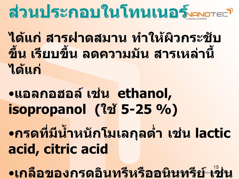 15ส่วนประกอบในโทนเนอร์ ได้แก่ สารฝาดสมาน ทำให้ผิวกระชับ ขึ้น เรียบขึ้น ลดความมัน สารเหล่านี้ ได้แก่ แอลกอฮอล์ เช่น ethanol, isopropanol ( ใช้ 5-25 %) กรดที่มีน้ำหนักโมเลกุลต่ำ เช่น lactic acid, citric acid เกลือของกรดอินทรีหรืออนินทรีย์ เช่น aluminium sulfate และ aluminium lactate สารสกัดจากพืช เช่น tannin และ witch hazel