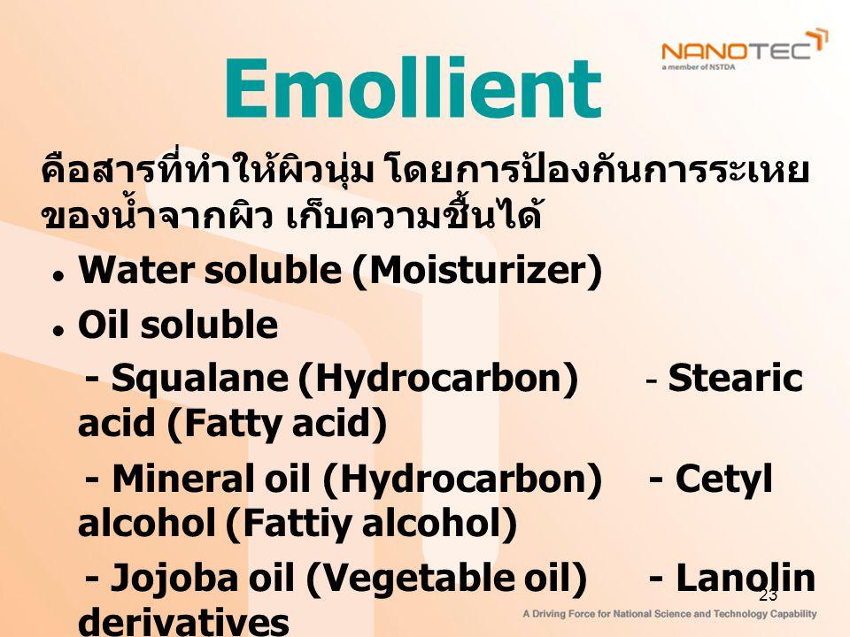 23 Emollient คือสารที่ทำให้ผิวนุ่ม โดยการป้องกันการระเหย ของน้ำจากผิว เก็บความชื้นได้ Water soluble (Moisturizer) Oil soluble - Squalane (Hydrocarbon) - Stearic acid (Fatty acid) - Mineral oil (Hydrocarbon) - Cetyl alcohol (Fattiy alcohol) - Jojoba oil (Vegetable oil) - Lanolin derivatives - Triglyceride ester (Fats & oil) - Lecithin (Phospholipid) - Isopropyl myristate (Alkyl ester)