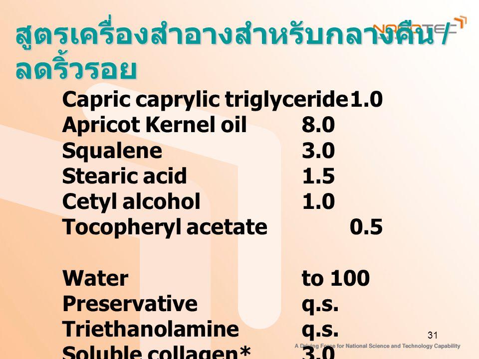 31 สูตรเครื่องสำอางสำหรับกลางคืน / ลดริ้วรอย Capric caprylic triglyceride1.0 Apricot Kernel oil8.0 Squalene3.0 Stearic acid1.5 Cetyl alcohol1.0 Tocopheryl acetate0.5 Waterto 100 Preservativeq.s.