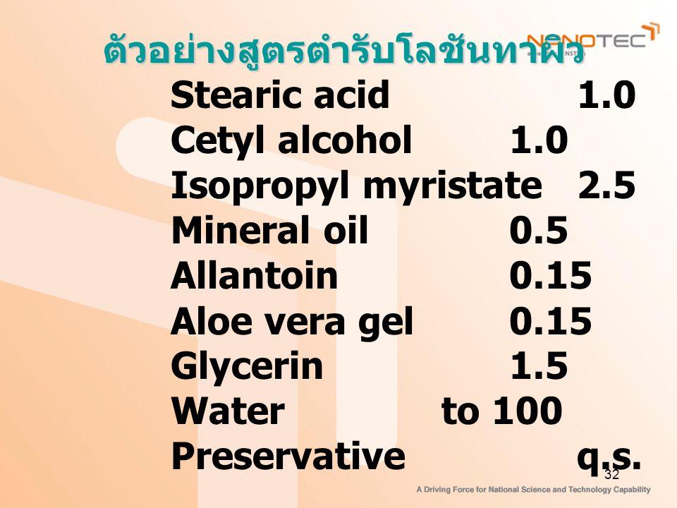 32 ตัวอย่างสูตรตำรับโลชันทาผิว Stearic acid1.0 Cetyl alcohol1.0 Isopropyl myristate2.5 Mineral oil0.5 Allantoin0.15 Aloe vera gel0.15 Glycerin1.5 Water to 100 Preservativeq.s.