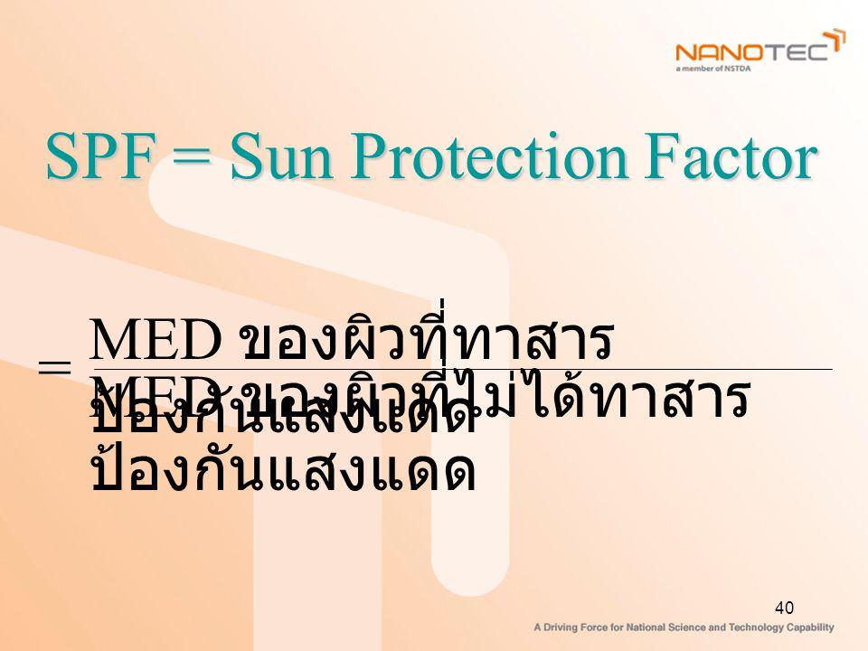 40 SPF = Sun Protection Factor MED ของผิวที่ทาสาร ป้องกันแสงแดด MED ของผิวที่ไม่ได้ทาสาร ป้องกันแสงแดด =