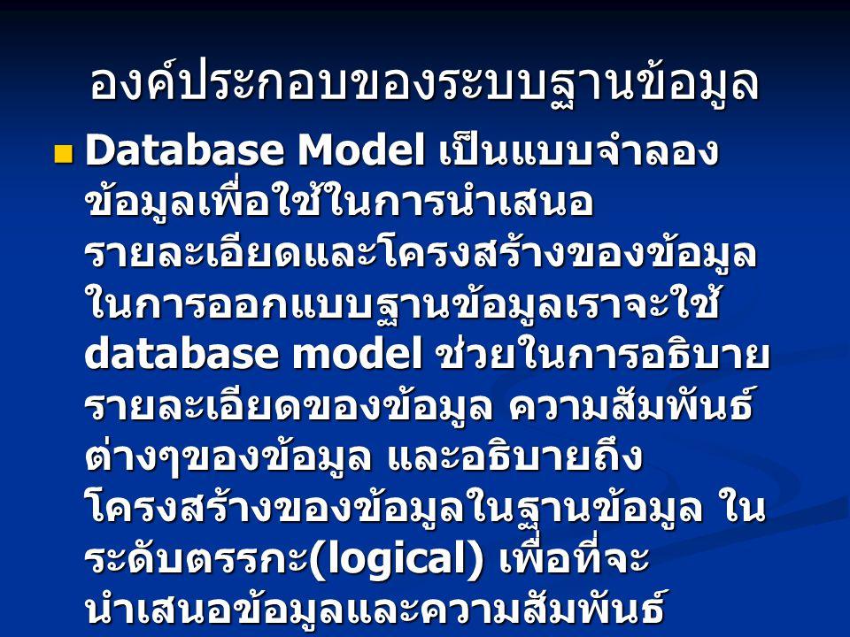 องค์ประกอบของระบบฐานข้อมูล Database Model เป็นแบบจำลอง ข้อมูลเพื่อใช้ในการนำเสนอ รายละเอียดและโครงสร้างของข้อมูล ในการออกแบบฐานข้อมูลเราจะใช้ database